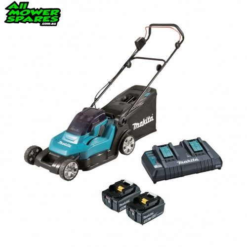 Makita 36V Lawn Mower 430mm (17 Inch) Kit with 2 x 5.0Ah Batteries & Rapid Charger, DLM432PT2